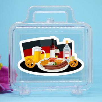 Maletinha de acrílico com adesivo- Alemanha comida