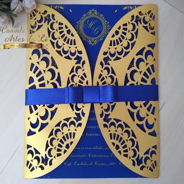 Convite Casamento Rendado Dourado e Azul Royal