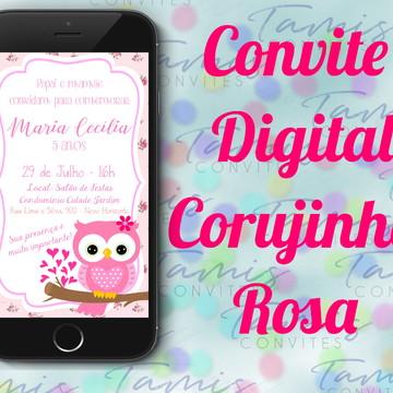 Convite Digital Corujinha Rosa