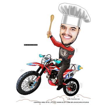 Caricatura aniversário cozinheiro na moto-Tema Motocross