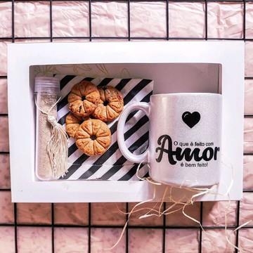 Kit Feito com Amor| Caneca Cintilante Prata