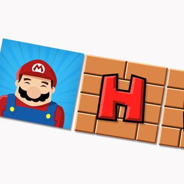 Arte digital para bandeirolas Super Mario