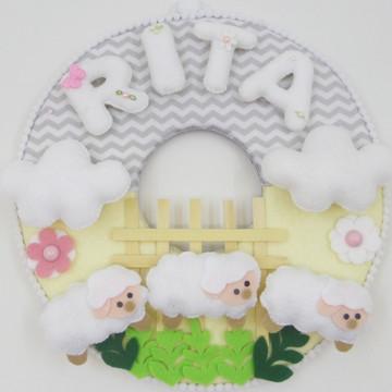 Enfeite de Porta Maternidade Ovelhas