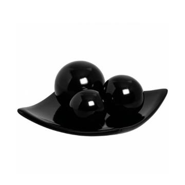 Prato Centro De Mesa Em Cerâmica Com 3 Esferas - Black