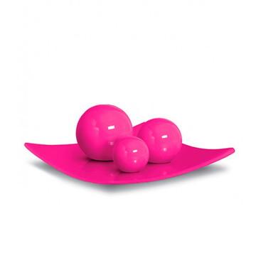 Centro De Mesa Em Cerâmica 3 Esferas - Rosa Pink