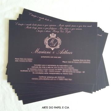 A64: Convite Casamento Azul Marinho e Rosé