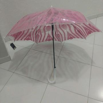 Guarda chuvas de crochê rosa