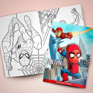 Revistinha para colorir + Giz de cera Homem Aranha