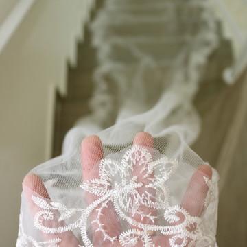 Véu longo noiva mantilha casamento Marfim 4,5 metros