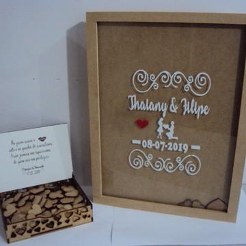 Quadro Assinaturas Casamento 80 Corações+caixa Com Mensagem