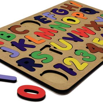 Tabuleiro Função Cognitiva Alfabeto com Números Encaixe