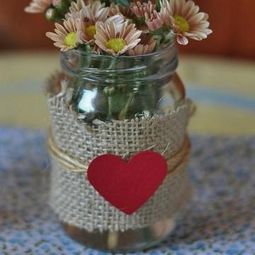Garrafinhas de Vidro em juta coração Casamento rústico