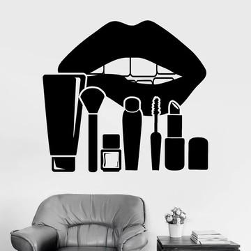 Adesivo Decorativo Lábio Maquiagem Cosméticos