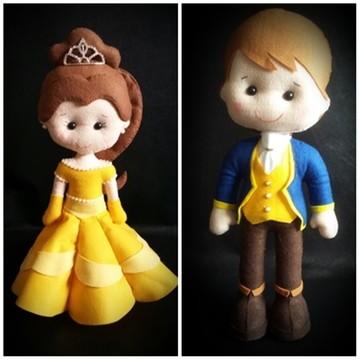 Príncipe Adam e a Bela em feltro