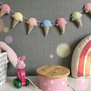 Varal decorativo SORVETES decoração infantil quarto de bebê