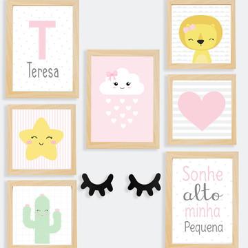 Quadros decoração bebê menina coração e estrela - A4