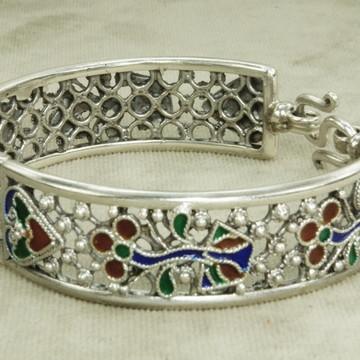 Bracelete Pulseira Flor Coração Esmaltado (l42,8) Prata 925