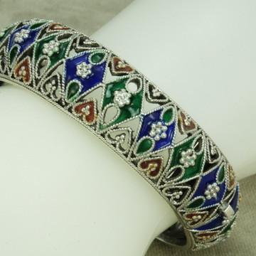 Bracelete Pulseira Trabalhado 2 Esmaltado (l46,7) Prata 925