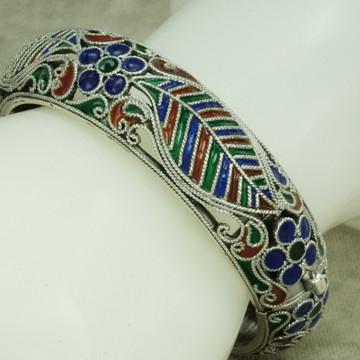 Bracelete Pulseira Bali Flor Folha Esmaltado (l46) Prata 925