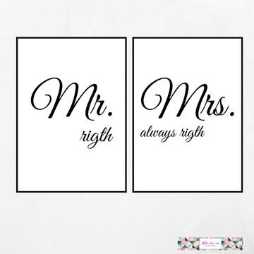 Duo de Quadros Mr & Mrs