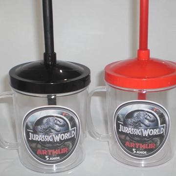 Caneca com Tampa e Canudo 350ml Jurassic World