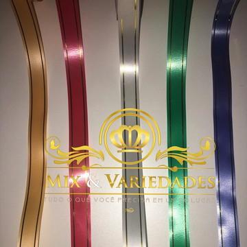 5 Fitas Acetinadas com Fio Dourado 18mm x50 metros