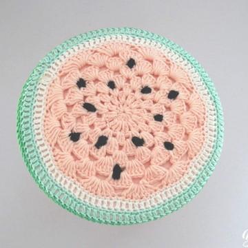 Duas Banquetas de crochê rosa claro melancia