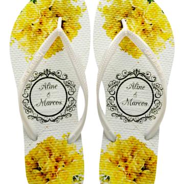 Chinelos Havaianas Slin para Casamento Flores Amarelas