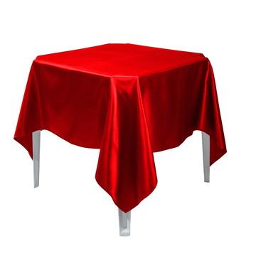6 Toalha Mesa Quadrada Cetim Vermelha 1,50x1,50 Festa Buffet