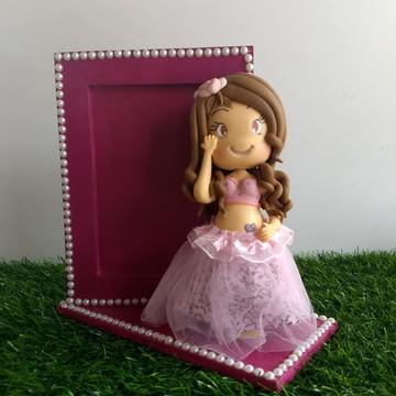 Porta Retrato Rosa com Biscuit