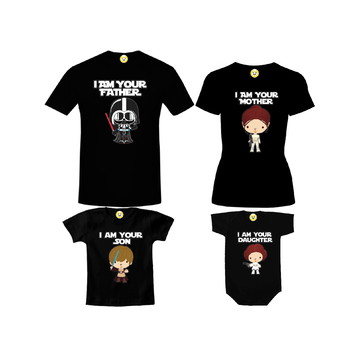 Kit Camiseta Star Wars Baby - Darth - Padmé - Luke - Leia