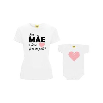 Kit Camiseta Coração Fora do Peito FILHA