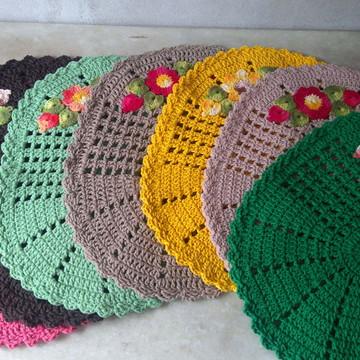 *** Promoção: Tapete de crochê oval bordado- Entrega imedia