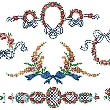 Matriz Bordado Barrado Floral Delicado