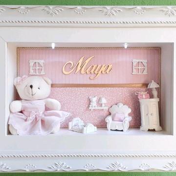 Porta Maternidade rosa com vidro e led