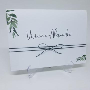 Convite casamento barato folhas