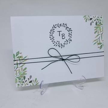 Convite casamento oferta folhas