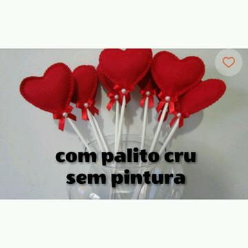 Coração de feltro no palito Vermelho _ palito de madeira cru
