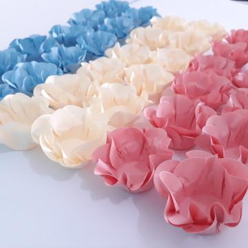 50 Forminhas para doces Flor Dupla Papel Cores Pastéis