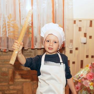 Avental infantil unissex com chapéu de cheff,personalizado