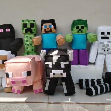 Personagens Minecraft em feltro