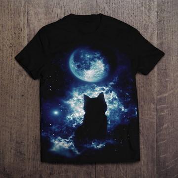 Camiseta Preta Cat Moon Gato Preto