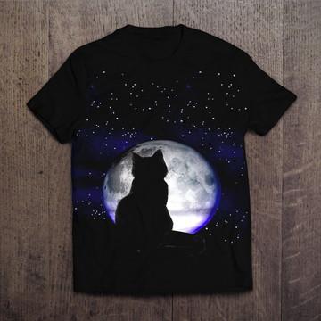 Camiseta Preta Cat Moon 2 Gato Preto