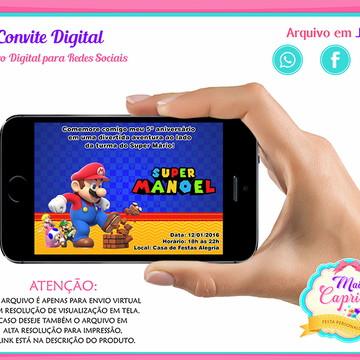 9a98ffa8b Convite Digital Mário - Super Mário