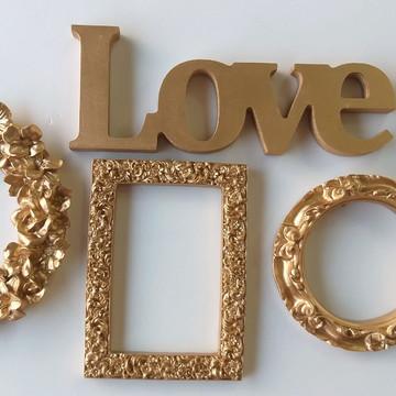 Kit Decoração Dourado/Molduras e Love