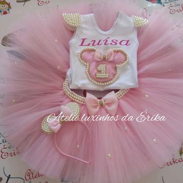 Fantasia Minnie rosa luxo