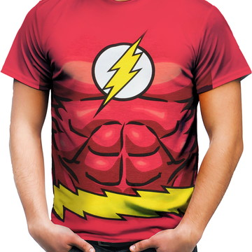 Camiseta Camisa Personalizada Flash Herói Fantasia Traje