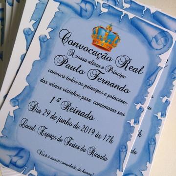Convite Pergaminho Realeza/Coroa (Azul)