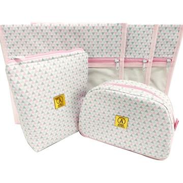Kit Maternidade Triangulo Rosa com Cinza - 5 Peças
