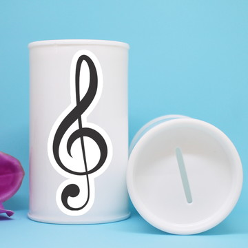 Cofrinho de plástico com adesivo – notas musicais clave sol